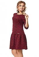 Молодежное трикотажное платье бордового цвета с пышной юбкой. Модель 1026