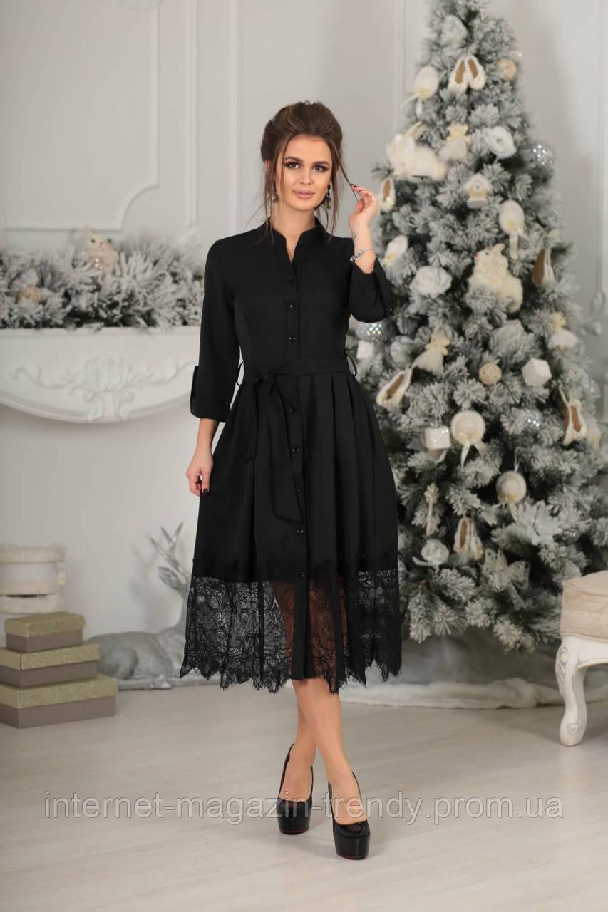 Платье миди с французским кружевом в черном цвете 4044