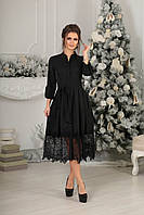 Платье миди с французским кружевом в черном цвете 4044, фото 1