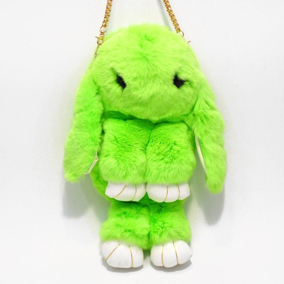 Сумка, рюкзак Кролик салатовый цвет (искусственный мех)