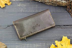 Большой кошелек с карманом на змейке 283011 - шоколадный, фото 2