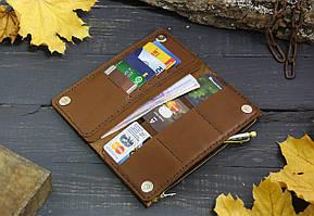 Большой кошелек с карманом на змейке 283012 - коричневый, фото 2