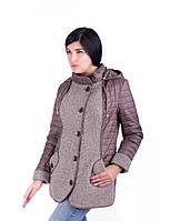 Женская комбинированная демисезонная стеганная куртка большого размера на пуговицах