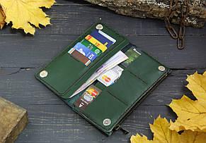 Большой кошелек с карманом на змейке 283013 - зеленый, фото 3