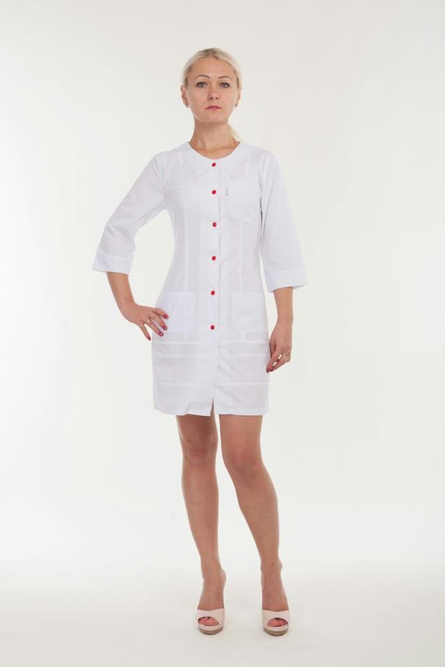 Молодежный медицинский халат для девушек на кнопках