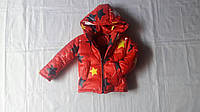 Детская куртка зимняя на флисе звездный принт  92-116