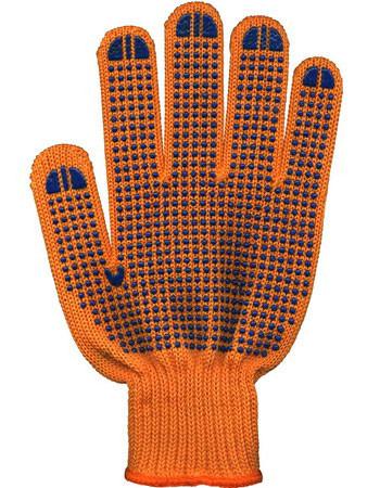 Перчатки рабочие  с ПВХ  (оранжевые) 4 нити