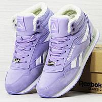 Женские зимние кроссовки Reebok фиолетовые (утепленные) , фото 1