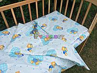 Постельный набор в детскую кроватку (3 предмета) Мишки в пижамке нежно-бирюзовый
