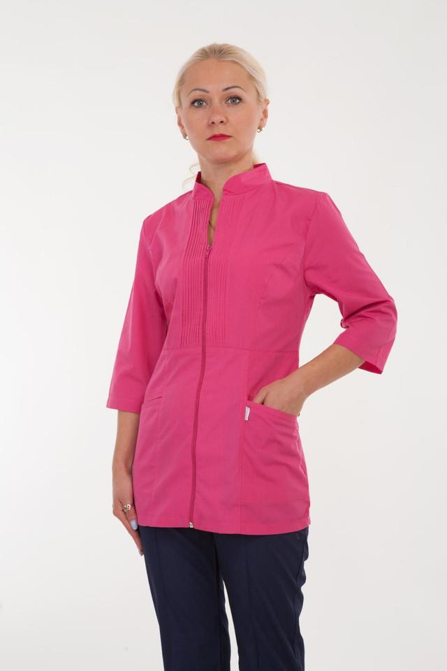 Оригинальный медицинский костюм розовый с синими брюками на молнии