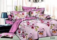 """3D Полуторное постельное белье """"Ranforce"""" цветы и бабочки"""