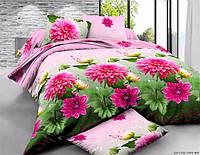"""3D Двуспальное постельное белье """"Ranforce"""" красные цветы"""
