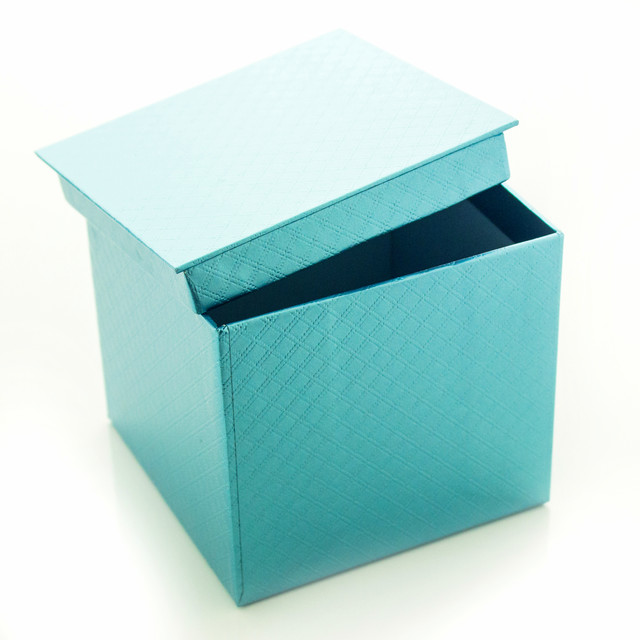 Подарочная коробка Голубой Металлик 10.5 x 9.5 x 10.5 см