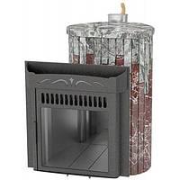 Дровяная банная печь Ферингер Ламель Мини облицовка Жадеит + Россо Леванте закрытая каменка