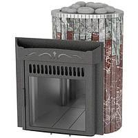 Дровяная печь Ферингер Ламель Оптима облицовка Жадеит + Россо Леванте металл открытая каменка