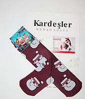"""Новогодние носки женские  зимние махровые внутри высокие  хлопок """"Kardesler """""""