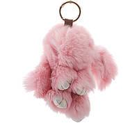 Брелок на сумку Кролик розовый (р-р 15 см ) нат. мех кольцо-карабин