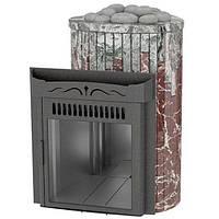 Дровяная печь Ферингер Ламель Оптима облицовка Жадеит + Россо Леванте камень открытая каменка