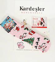 """Новогодние носки женские , зимние, махровые внутри, высокие,  хлопок """"Kardesler """""""