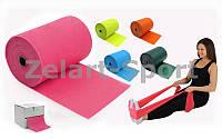 Лента эластичная для фитнеса и йоги в рулоне (р-р 25м x 15см x 0,4мм)  (силикон)