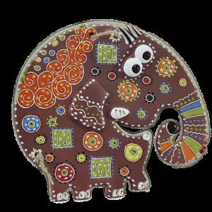 Сувенир керамический «Слон» коричневый хобот вниз