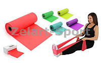 Лента эластичная для фитнеса и йоги в рулоне (р-р 5,5м x 15см x 0,3мм)  (силикон)