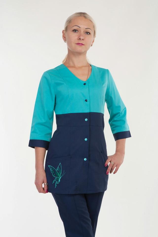 Оригинальный медицинский костюм на кнопках бирюзовый с синим