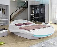 Кровать круглая с обивкой FERRO RGB LED + пульт дистанционного управления 180х200