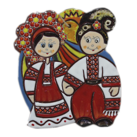 """Сувенир керамический """"Парочка украинцы"""" солнце"""