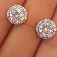 Серьги гвоздики с камнями серебро 925 - Серьги пусеты серебро диам. 9 мм