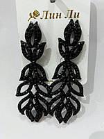 Сексуальные серьги из черных камней. Серёжки оптом 764
