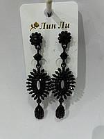 Сексуальные модные серьги из черных камней. Серёжки оптом 765