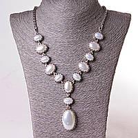 """Колье """"13 камней"""" жемчуг """"Майорка"""" овальные камни в металле, 3,5х2,5-2,2х1,7-1,2х1,7см L-  50см"""