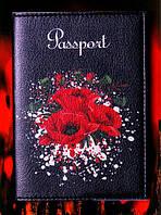 """Обложка на паспорт """"Красные маки"""" черная, материал экокожа 09"""