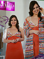 Халат и сорочка Оранж. Большой размер. Intimo. р. 56