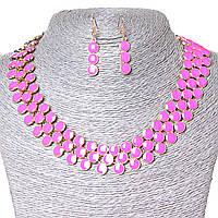 [25х7 серьги мм.] Набор ожерелье + серьги Ягодки, металл Gold и розовый глянец