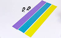 Ленты-эспандеры с ручками для пилатеса (3шт) PS  (латекс,р-р 120см x 15см x 0,65;0,5;0,35мм)