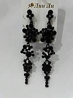 Шикарные секси серьги с черными камнями. Нарядные черные серёжки оптом 770