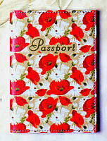 "Обложка на паспорт ""Маковое поле"", материал экокожа 10"