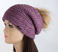 Теплая шапка колпак с помпоном из енота Savanna
