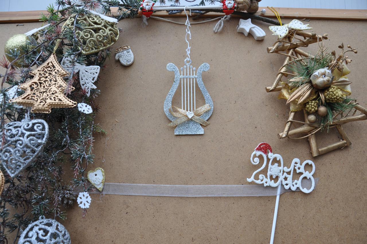 Новогодняя игрушка арфа музыкальная с бантиком