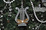 Новогодняя игрушка арфа музыкальная с бантиком, фото 3