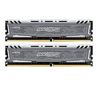 Оперативная память для компьютера 8Gb x 2 (16Gb Kit) DDR4, 2400 MHz, Crucial Ballistix Sport, 16-16-16, 1.2V, с радиатором (BLS2C8G4D240FSB)