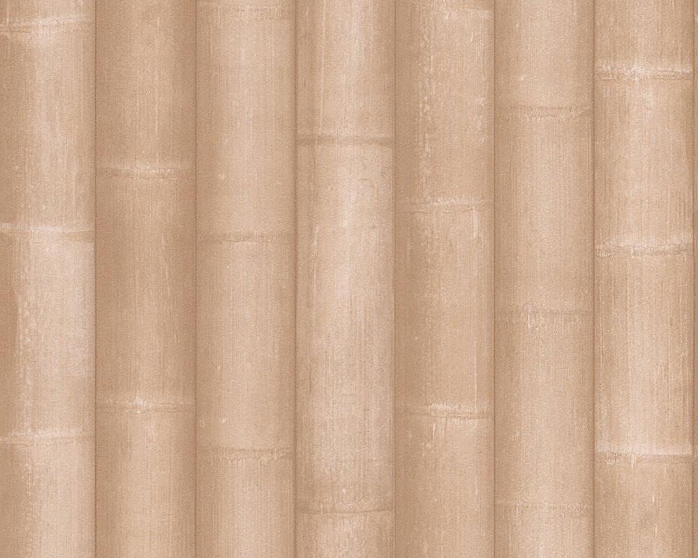 Обои 3d, с имитацией широких стеблей бамбука 961842.