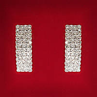 [30x10 мм] Серьги женские белые стразы светлый металл свадебные вечерние гвоздики (пуссеты) прямоугольные длинные крупные