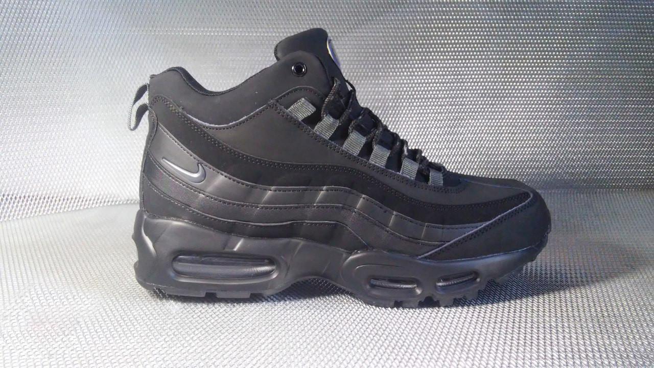 Ботинки Airmax мужские на меху (черные), ТОП-реплика