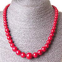 Бусы красный Коралл (пресс) шарик  на увеличение 6-14мм, длина 44см