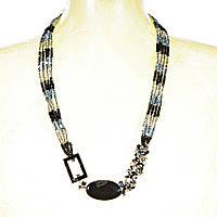 """Бусы """"чешское стекло"""" в 5 нитей гранённые чёрные,серые, жёлтые бусины и агат разной формы,длина 80см"""
