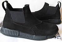Демисезонные мужские ботинки Gross кожа нубук мех  Гросс челси