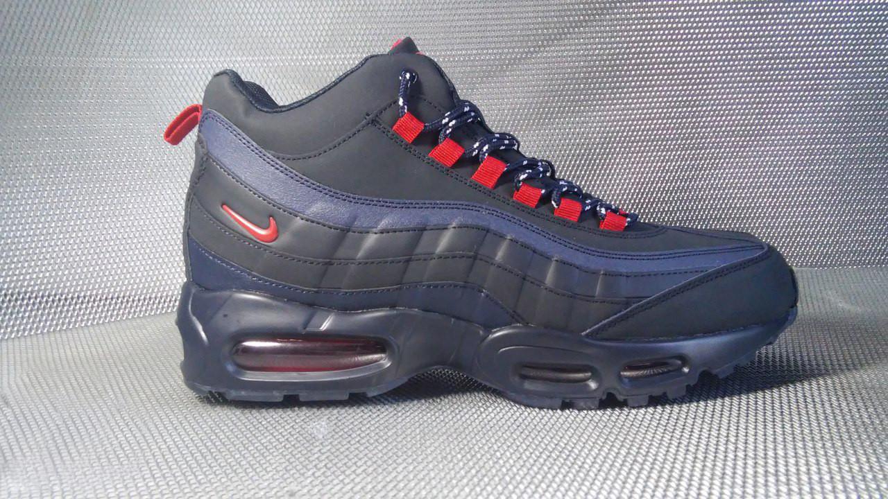 Ботинки Nike Airmnax мужские на меху (темно-синие), ТОП-реплика